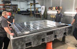 T-Slot metal test plate cast in BaseTek polymer mineral casting
