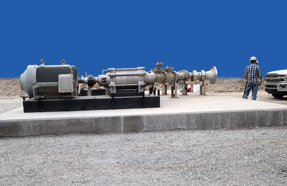700 HP motor and multistate case pump on large mineral cast PoxyBase for a mining application