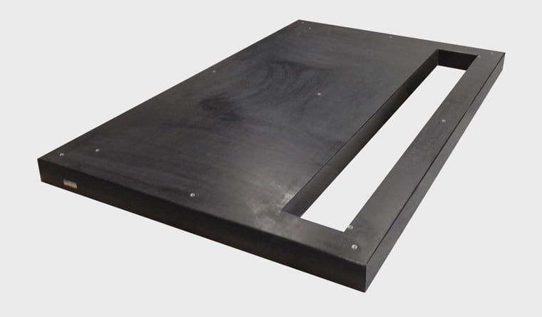 Polymer precast housekeeping pad with cut-out